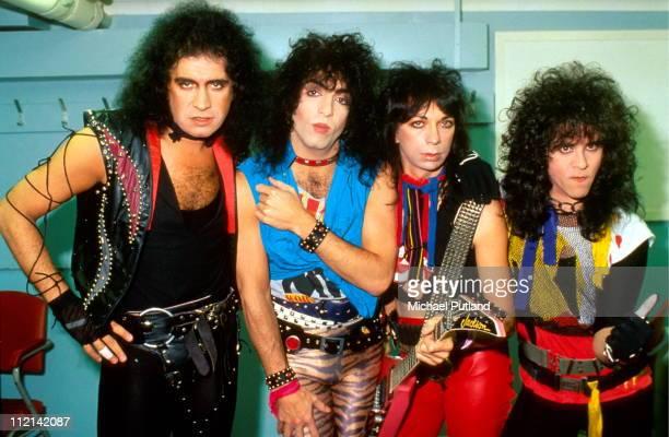 Kiss group portrait without make up London August 1983 LR Gene Simmons Paul Stanley Vinnie Vincent Eric Carr