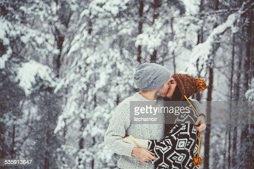 Beijo na Neve : Foto de stock