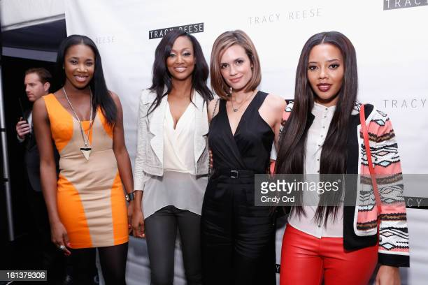 Kiss Nichole Galicia Torrey Devitto and Angela Simmons attend the Tracy Reese Fall 2013 fashion show during MercedesBenz Fashion Week at The Studio...