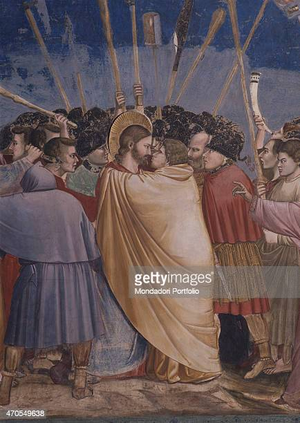 'Kiss of Judas by Giotto 13031305 14th Century fresco Italy Veneto Padua Scrovegni Chapel After restoration picture Detail A great agitation...