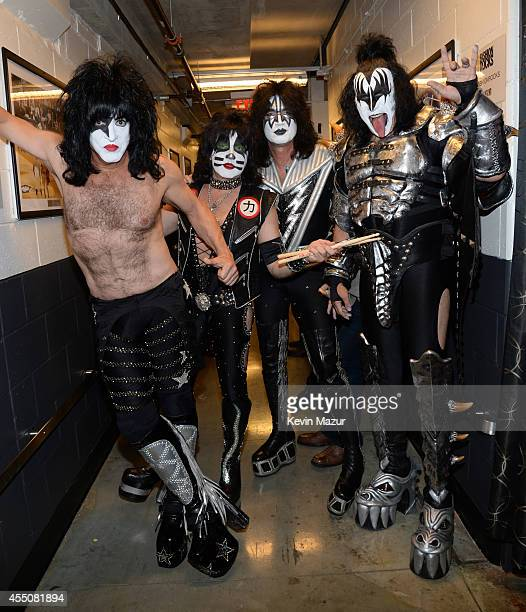 Kiss poses backstage at Fashion Rocks 2014 presented by Three Lions Entertainment at Barclays Center of Brooklyn on September 9 2014 in New York City