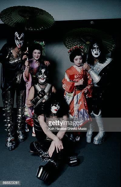 Kiss with Japanese Maiko at Press conference Tokyo March 1978