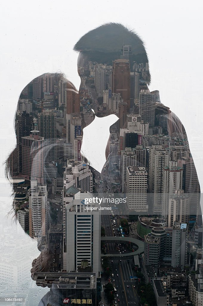 Kissing couple, double exposure : Stock Photo