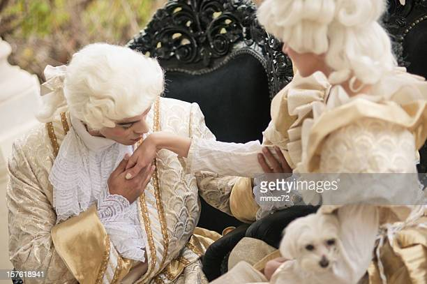 Kissing Hand in Old French Costumes