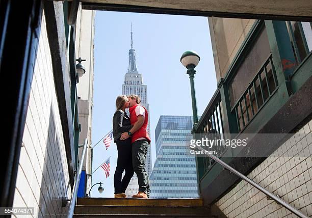 Kissing in New York.