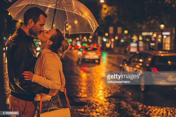 Kissing on the rain
