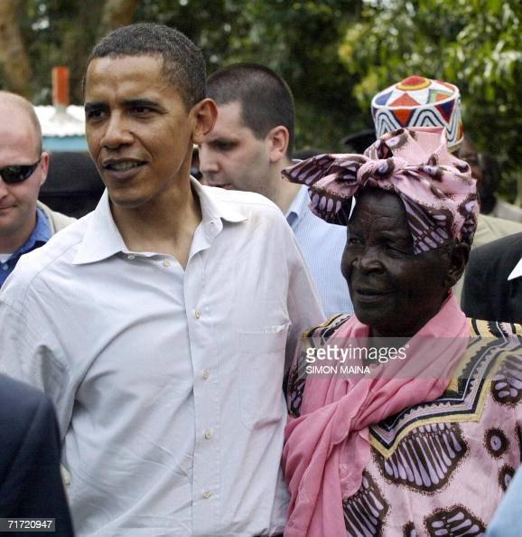 US senator of Kenyan descent Barrack Obama greets his grandmother Sarah Obama at their rural home in Siaya Kisumu 365km western of the capital 26...