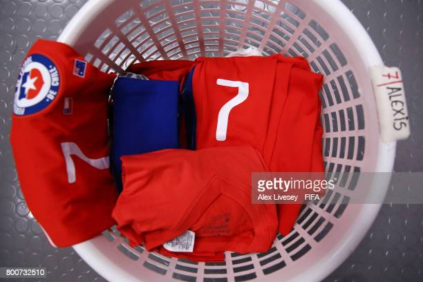 Kit belonging to Alexis Sanchez of Chile is seen in the Chile changing room prior to the FIFA Confederations Cup Russia 2017 Group B match between...