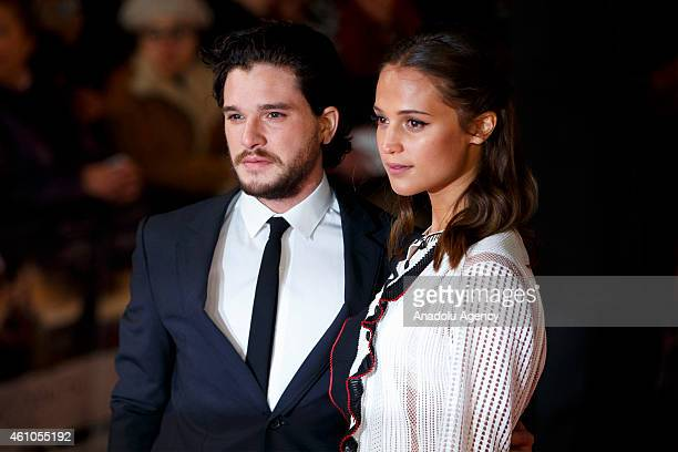 Kit Harington and Alicia Vikander attend the UK premiere of 'Testament of Youth' film in Leicester Square London England on January 05 2015