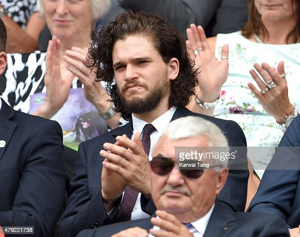Kit Harington attends the Christina McHale v Sabine Lisicki match on day four of the Wimbledon Tennis Championships at Wimbledon on July 2 2015 in...