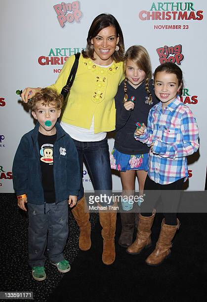 Kit Hoover and her children arrive at the Los Angeles special screening of 'Arthur Christmas' held at AMC Century City 15 theater on November 20 2011...