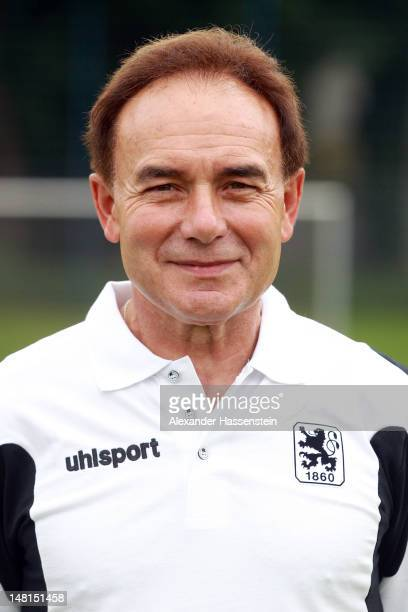 Kit man Martin Bernhard of 1860 Muenchen poses during the Second Bundesliga team presentation of TSV 1860 Muenchen on July 11 2012 in Munich Germany
