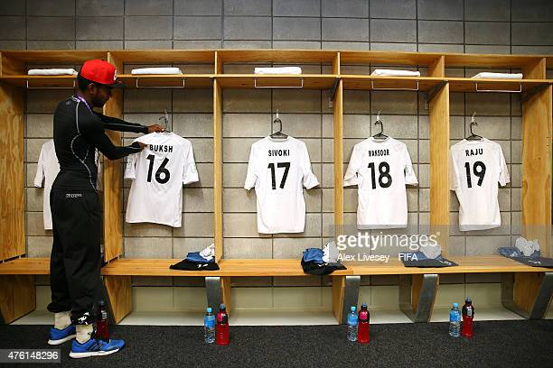 A kit man of the Fiji team hangs up shirts in their dressing room prior to the FIFA U20 World Cup Group F match between Fiji and Uzbekistan at the...