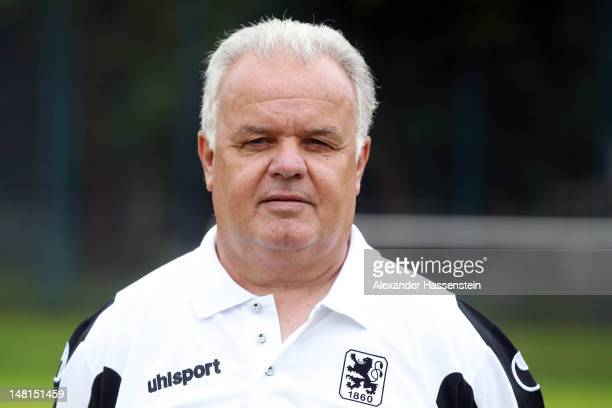 Kit man Wolfgang Fendt of 1860 Muenchen poses during the Second Bundesliga team presentation of TSV 1860 Muenchen on July 11 2012 in Munich Germany