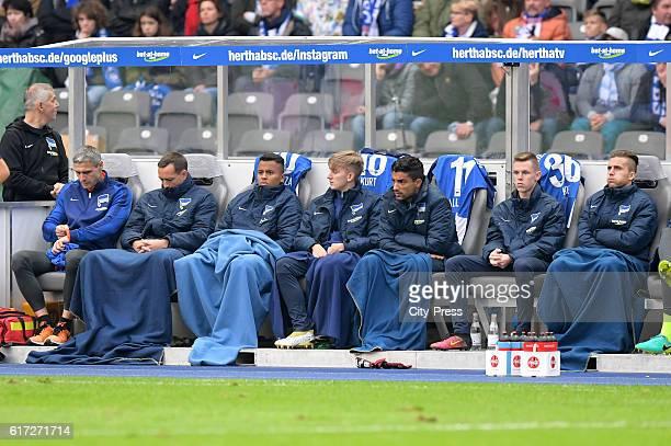 kit manager Hendrik Herzog Julian Schieber Allan Sinan Kurt Sami Allagui Julius Kade and Peter Pekarik of Hertha BSC during the game between Hertha...