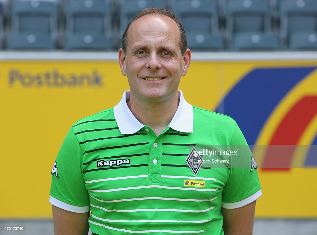 Kit manager Marcus Breuer poses during the team presentation of Borussia Moenchengladbach on July 9, 2013 in Moenchengladbach, Germany.