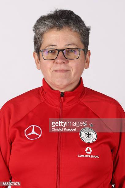 Kit manager Monika Kassai poses during the U15 Girl's Germany Team Presentation at Training Ground Goethe School on October 30 2017 in Wetzlar Germany