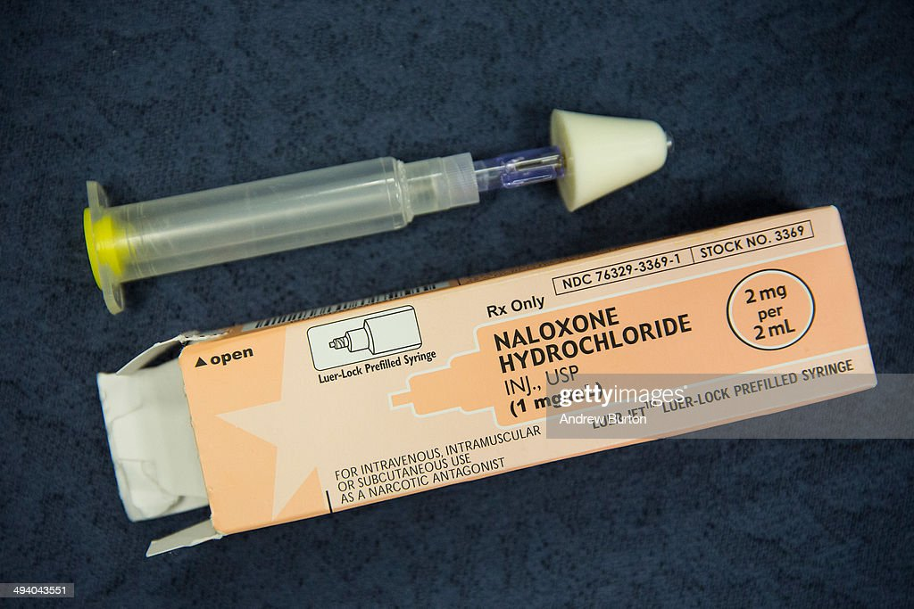 A kit of Naloxone a heroin antidote that can reverse the effects of an opioid overdose is displayed at a press conference about a new community...