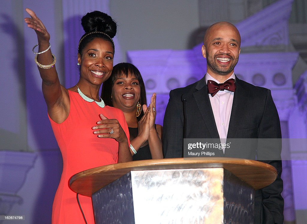 Kita Williams, Monique Jackson and Omar McGee onstage during the Executive Preparatory Academy of Finance's 'Reason To Believe' Inaugural charity fundraising gala at Vibiana on February 20, 2013 in Los Angeles, California.