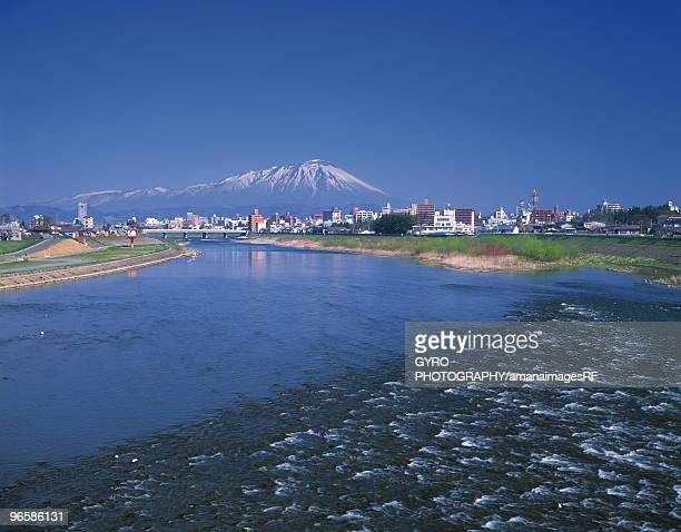 Kitakami river and view of Morioka, Iwate Prefecture, Japan