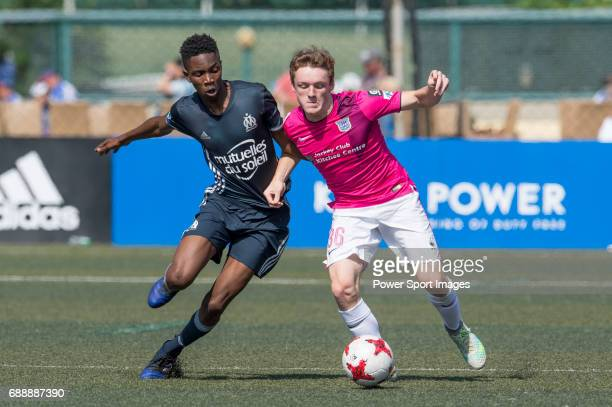 Kitchee's Robert Stamp runs the ball during their Main Tournament match with Olympique Marseille part of the HKFC Citi Soccer Sevens 2017 on 27 May...