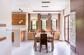 Kitchen and dining room in modern house