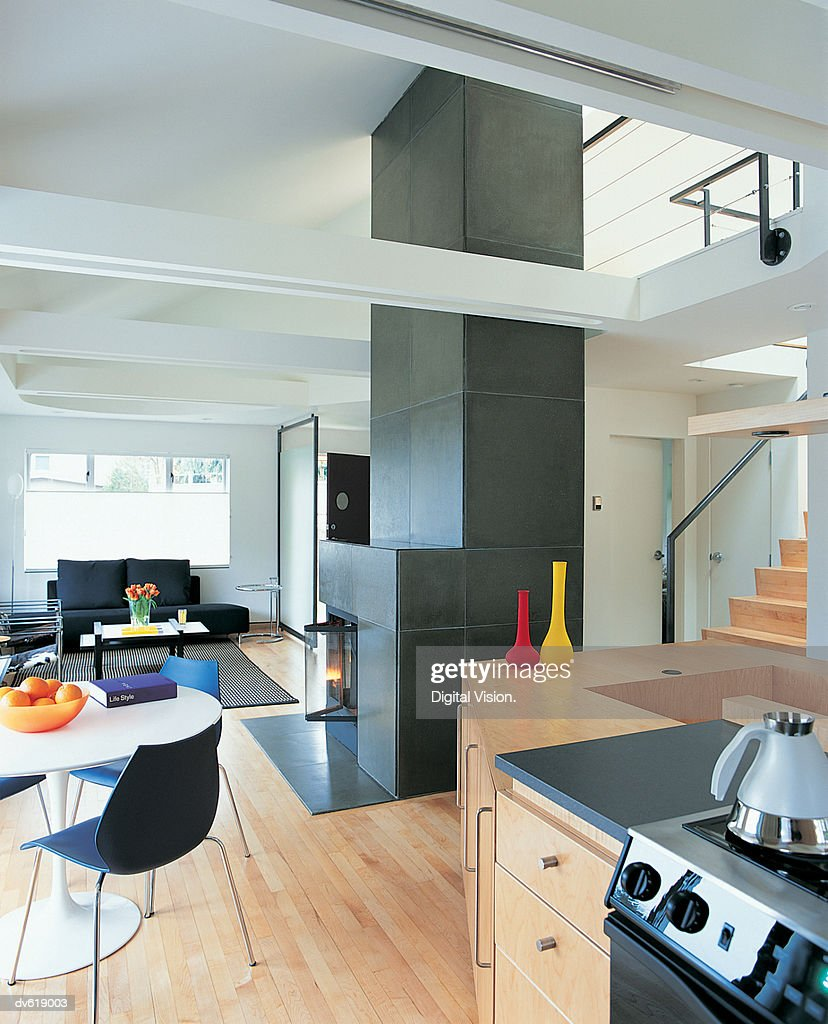 Kitchen and Living/Dining Area of Modern Loft : Stock Photo