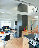 Kitchen and Living/Dining Area of Modern Loft