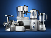 Kitchen appliances. Blender, toaster, coffee machine, meat ginder, microwave oven and kettle. 3d