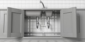 Kitchen cabinets with open doors, stainless steel sink and water tap, under view. White ceramic tiles wall backgound. 3d illustration