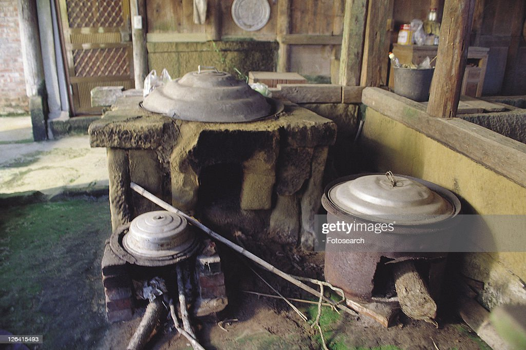 kitchen, Chinese, stove, old, oriental, traditional : Stock Photo