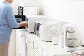 Kitchen cooking appliances.