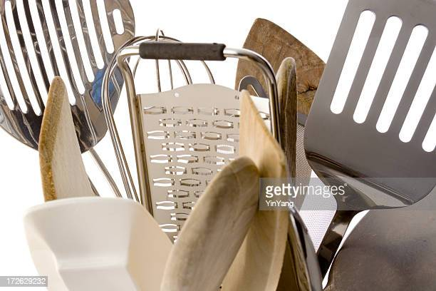 Kitchen Cooking Utensils, Wooden Spoons and Metal Equipment on White