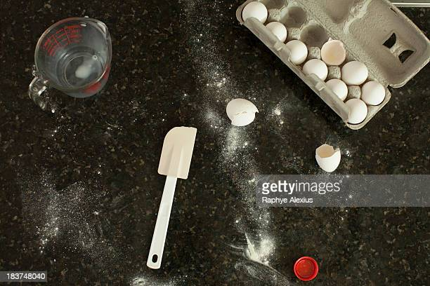 Kitchen counter with egg box, jog and spatula