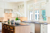 Bright white cabinets highlight this newly constructed room.