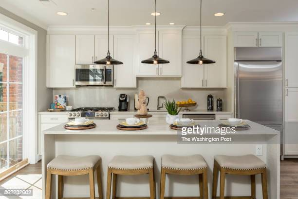 Kitchen in the model Townhome at Mayfair on Main Street on September 29 2017 in Fairfax Virginia