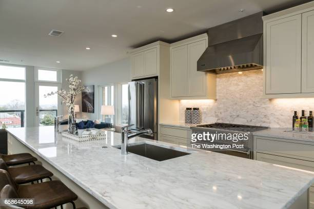 Kitchen Island in the Penthouse on March 20 2017 in Washington DC