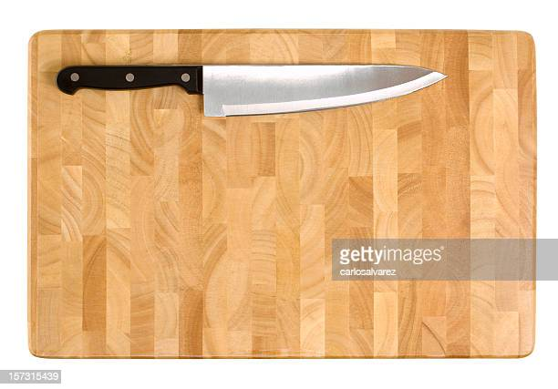 Kitchen Knife on Cutting Board with Clipping Path