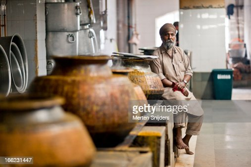 Kitchen Manager At Large Curry Pots Stock Photo | Getty Images