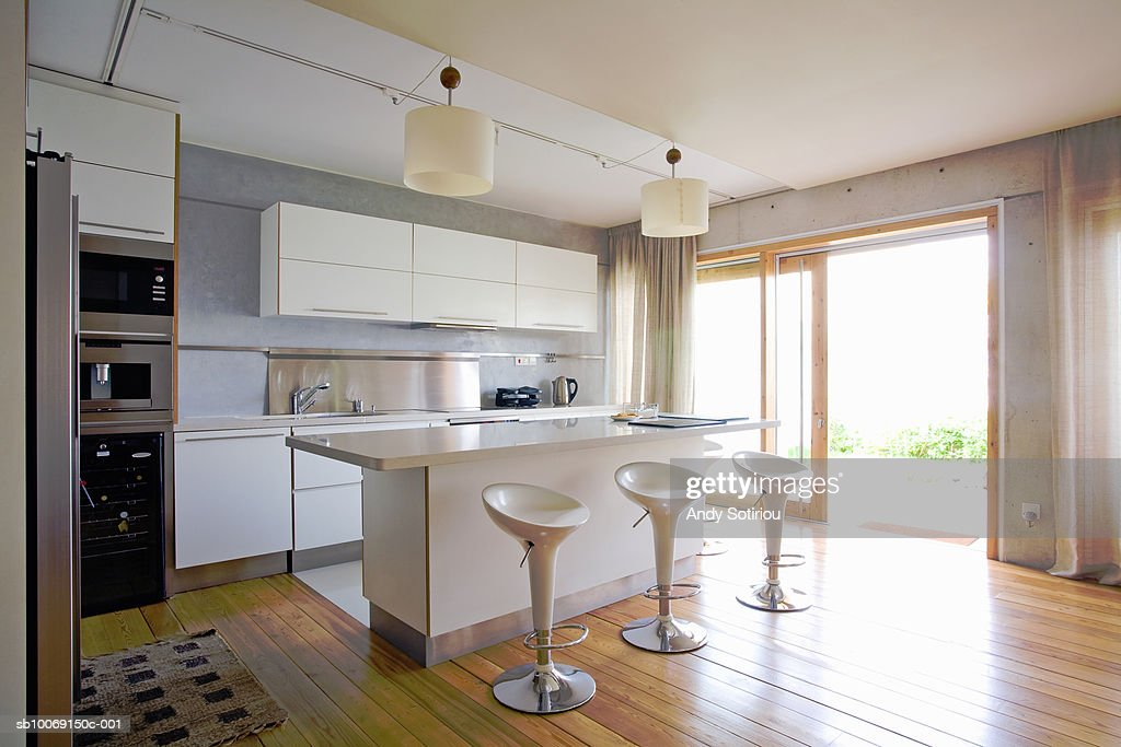 Kitchen of contemporary house : Stock Photo