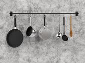 3d rendering kitchen rack hanging with kitchen utensils
