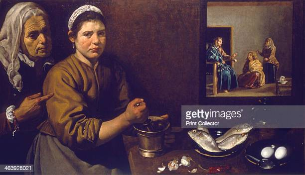 'Kitchen Scene with Christ in the house of Mary and Martha' c16181622 Martha supervises work in the kitchen A young servant girl wearing an unhappy...