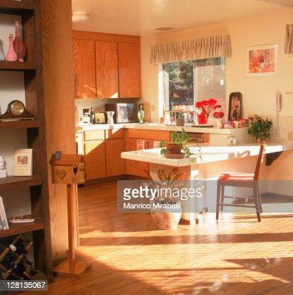Kitchen scene with poinsettia near bookshelf : Stock Photo