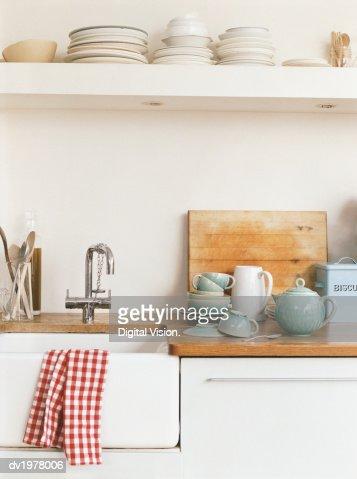 Kitchen Sink and Crockery : Stock Photo