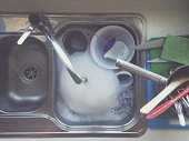 Kitchen sink filled with water and dirty dishes