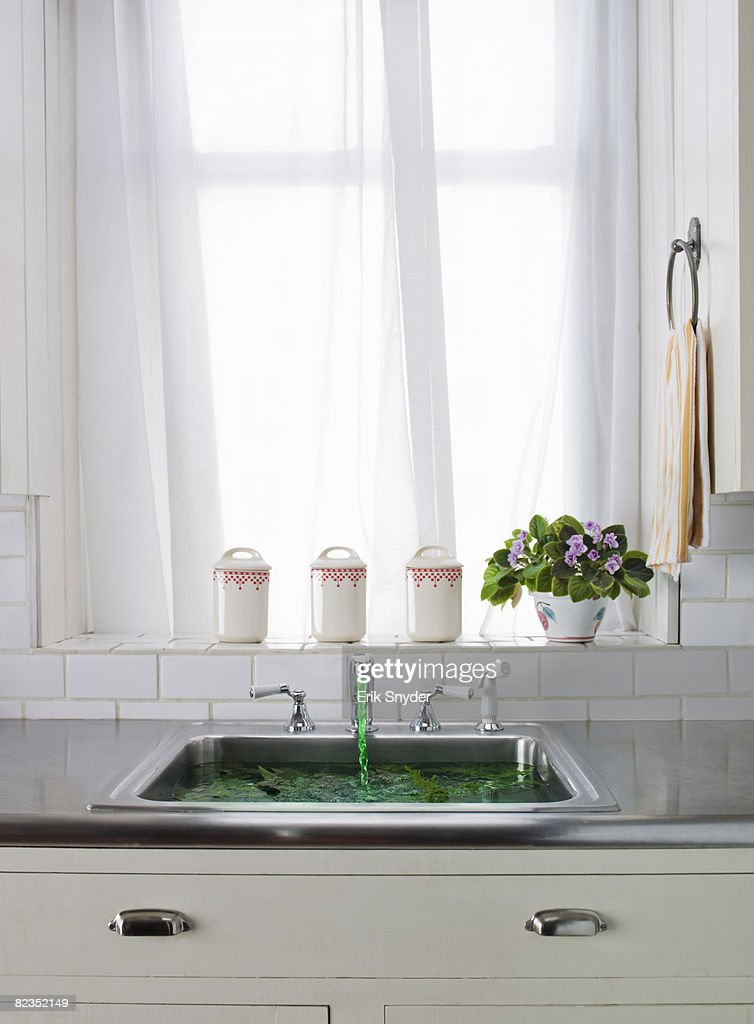kitchen sink with green water coming out of tap