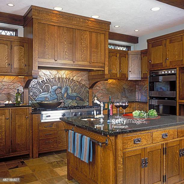 Kitchen stove and island