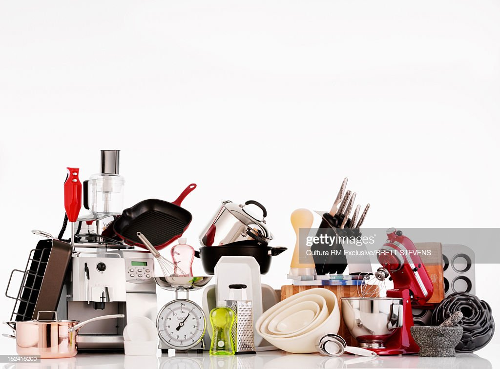 Kitchen supplies on counter : Stock Photo