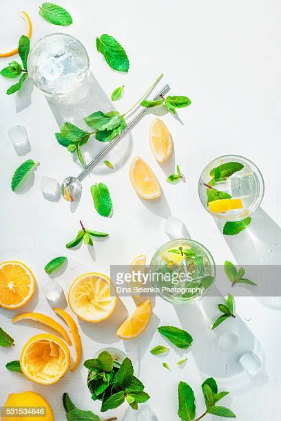 Kitchen table with lemonade ingredients and sunlight
