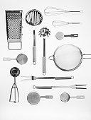 Kitchen tools on white background